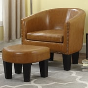 Gracie Oaks Mohamud Barrel Chair and Ottoman; Caramel