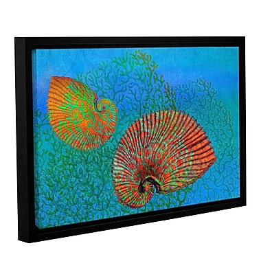 Highland Dunes 'Shells in Seaweed' Framed Graphic Art on Wrapped Canvas; 12'' H x 18'' W x 2'' D