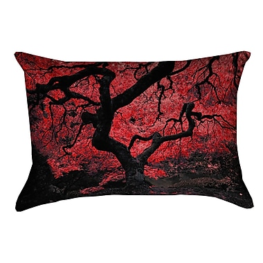 Red Barrel Studio Ghost Train Japanese Maple Tree Rectangular Pillow Cover; Red