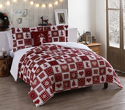 The Holiday Aisle Holiday Patchwork Micro Mink Comforter Set; Twin