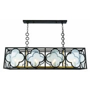 Bungalow Rose Angelo 8-Light LED Glass Kitchen Island Pendant; Aged Copper/Golden Iron