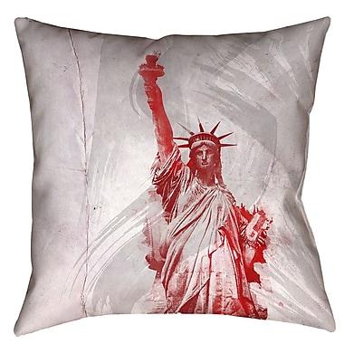 Brayden Studio Houck Watercolor Statue of Liberty Concealed Zipper Square Pillow Cover; 16'' x 16''