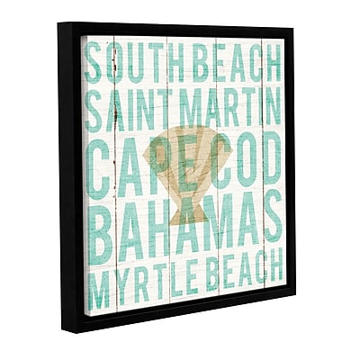 Highland Dunes 'Bon Voyage Shell' Framed Textual Art on Canvas; 14'' H x 14'' W x 2'' D