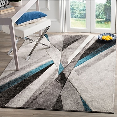 Orren Ellis Anne Abstract Gray/Teal Area Rug; Square 6'7'' x 6'7''