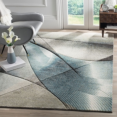 Orren Ellis Anne Gray/Teal Area Rug; 2'2'' x 8'