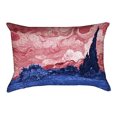 Red Barrel Studio Belle Meade Wheatfield w/ Cypresses Outdoor Lumbar Pillow; Red/Blue