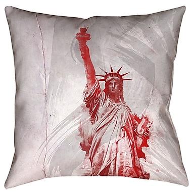 Brayden Studio Houck Watercolor Statue of Liberty Cotton Throw Pillow; 20'' x 20''