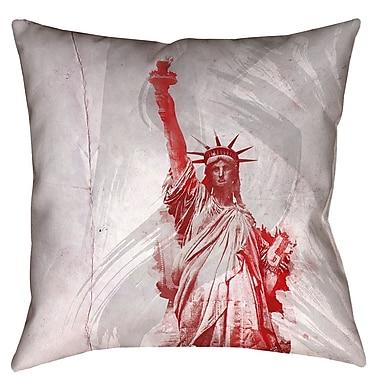 Brayden Studio Houck Watercolor Statue of Liberty Printed Zipper Square Throw Pillow; 26'' x 26''