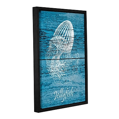 Highland Dunes 'Blue Wood Jellyfish' Framed Graphic Art on Wrapped Canvas; 48'' H x 32'' W x 2'' D