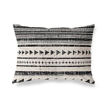 Ivy Bronx Albert Triangle Stripe Outdoor Lumbar Pillow; Ivory/Gray/Beige
