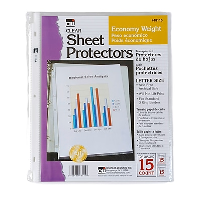 Charles Leonard Clear Economy Sheet Protectors, 12 Count of 15 Protectors Per Order
