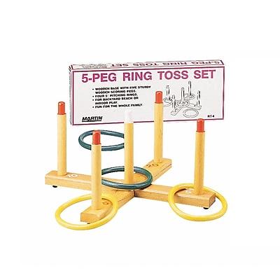 Martin Sports Ring Toss Game, 5-Peg Wood Base