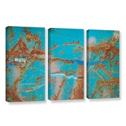 Longshore Tides 'Rusty Turquoise' 3 Piece Photographic Print on Wrapped Canvas Set