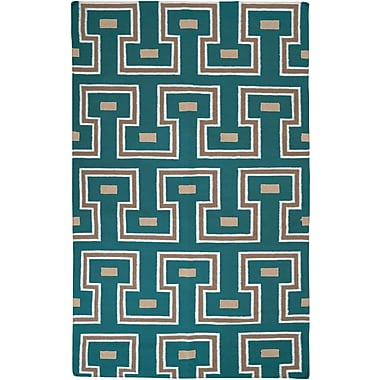 Corrigan Studio Adan Teal Green Geometric Area Rug; 8' x 11'