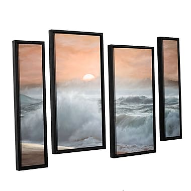 Highland Dunes 'Heavy Seas at Sunset II' 4 Piece Framed Painting Print on Canvas Set