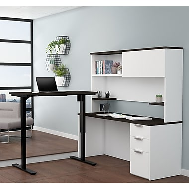 Latitude Run Hartleton Reversible L-Shape Corner Desk w/ Hutch; White