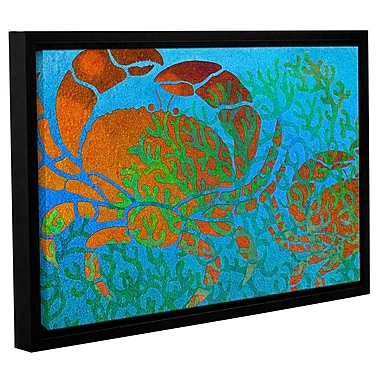Bay Isle Home 'Crabs in Seaweed' Framed Graphic Art on Wrapped Canvas; 32'' H x 48'' W x 2'' D