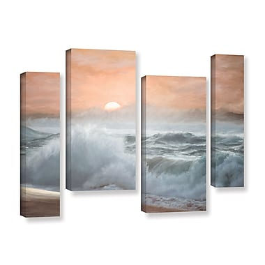 Highland Dunes 'Heavy Seas at Sunset II' 4 Piece Painting Print on Gallery Wrapped Canvas Set
