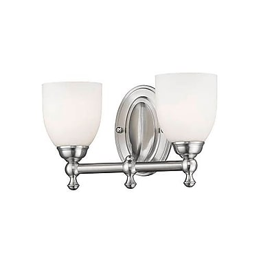 Charlton Home Briggs 2-Light Vanity Light; Satin Nickel