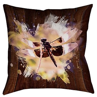 Latitude Run Hansard Watercolor Dragonfly Square Throw Pillow; 16'' x 16''