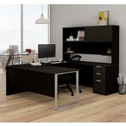 Latitude Run Hartleton Contemporary U-Shape Corner Desk w/ Hutch; Black