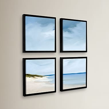 Highland Dunes 'Blue' 4 Piece Framed Painting Print on Wrapped CanvasSet; 48'' H x 48'' W x 2'' D