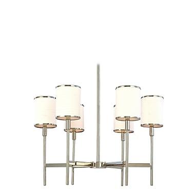 Latitude Run Clarise 6-Light Shaded Chandelier; Polished Nickel