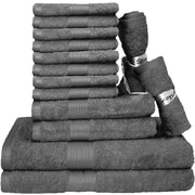 Latitude Run Blended 14 Piece Towel Set; Gray