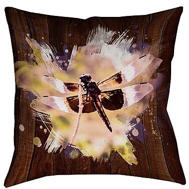 Latitude Run Hansard Watercolor Dragonfly Outdoor Throw Pillow; 16'' x 16''