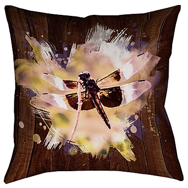 Latitude Run Hansard Watercolor Dragonfly Double Sided Print Square Pillow Cover; 20'' x 20''
