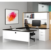Latitude Run Hartleton Contemporary U-Shape Corner Desk w/ Hutch; White