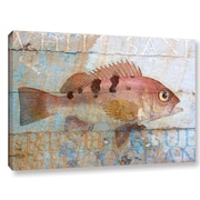 Breakwater Bay 'Fish on Wood 2' Graphic Art on Wrapped Canvas; 16'' H x 24'' W x 2'' D