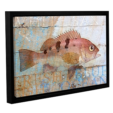 Breakwater Bay 'Fish on Wood 2' Framed Graphic Art on Wrapped Canvas; 32'' H x 48'' W x 2'' D
