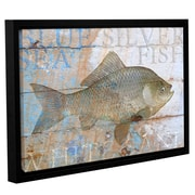 Breakwater Bay 'Fish on Wood 3' Framed Graphic Art on Wrapped Canvas; 24'' H x 36'' W x 2'' D