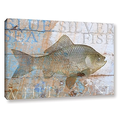Breakwater Bay 'Fish on Wood 3' Graphic Art on Wrapped Canvas; 24'' H x 36'' W x 2'' D