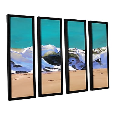 Highland Dunes 'Shore Break 1' 4 Piece Framed Painting Print on Wrapped Canvas Set
