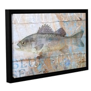 Breakwater Bay 'Fish on Wood 4' Framed Graphic Art on Wrapped Canvas; 32'' H x 48'' W x 2'' D