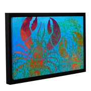 Breakwater Bay 'Lobs in Seaweed' Framed Graphic Art on Wrapped Canvas; 12'' H x 18'' W x 2'' D