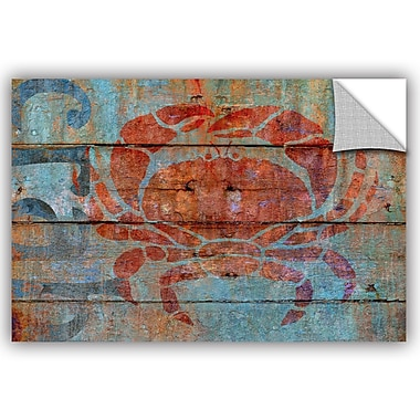 Breakwater Bay Addisyn Crab on Wood Removable Wall Decal; 32'' H x 48'' W x 0.1'' D