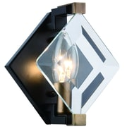 Everly Quinn Everalda 1-Light Armed Sconce; Burnished Brass/Flat Black