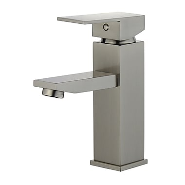 Bellaterra Home Granada Single Handle Bathroom Faucet w/ Drain Assembly; Brushed Nickel