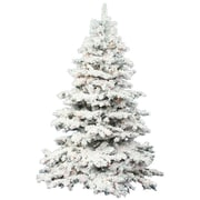 Flocked Alaskan 7.5' White Artificial Christmas Tree w/ 900 Dura-Lit Clear Lights w/ Stand
