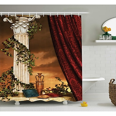 Greek Scene Climber Pillow Fruits Vine and Red Curtain Ancient Goddess Sunset Shower Curtain
