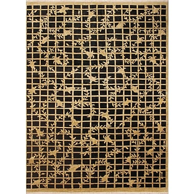 Astoria Grand Montague Hand-Knotted Oriental Wool Black/Brown Area Rug
