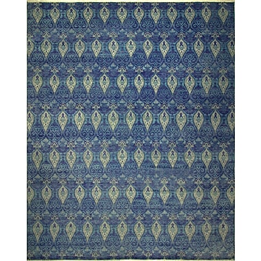 Bloomsbury Market Harkness Hand-Knotted Wool Blue Area Rug