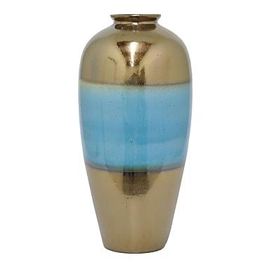 Bloomsbury Market Contemporary Cylinder Blue Ceramic Floor Vase