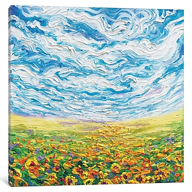Red Barrel Studio Iris Scott - Big Sky, Small Sunflowers Painting Print on Wrapped Canvas