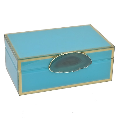 Everly Quinn Arabella Wood Decorative Box w/ Agate Stone