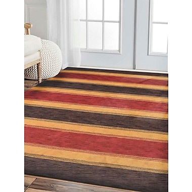 Get My Rugs Rugsotic Striped Hand-Knotted Wool Brown/Gold Area Rug