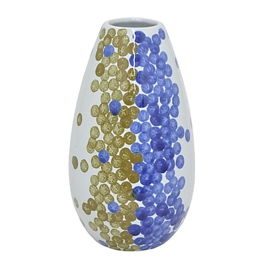 Bungalow Rose Blue Spot Ceramic Table Vase